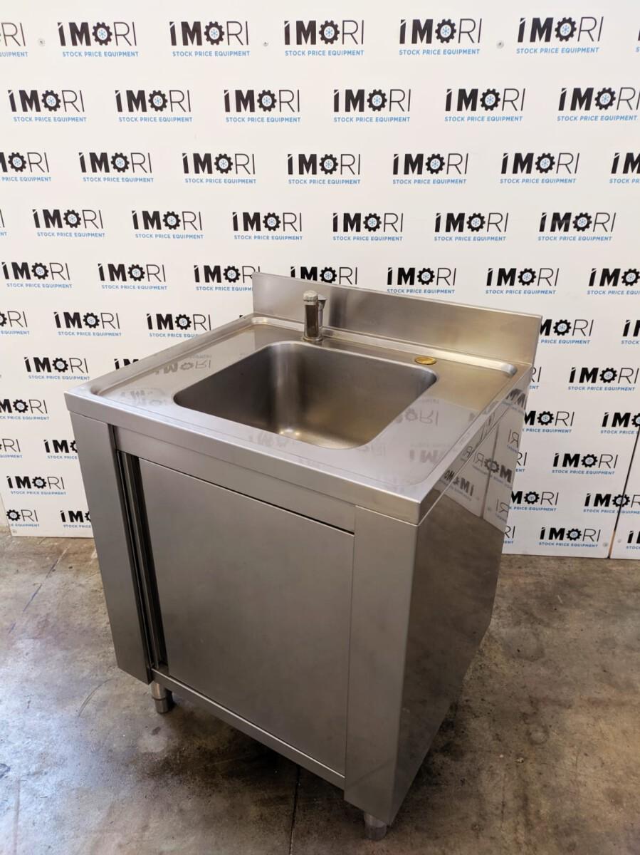 Lavello armadiato usato con porta battente in acciaio inox ...