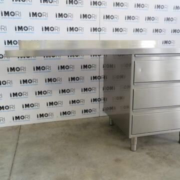 Tavolo Di Lavoro Usato A Sbalzo In Acciaio Inox Con Cassettiera 150x70x85h