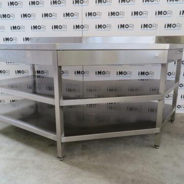 Tavolo Di Lavoro Usato A Giorno Sagomato In Acciaio Inox Con Ripiani 170x70x85h