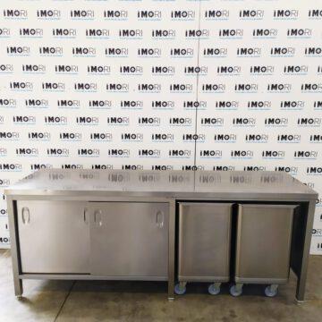Tavolo Di Lavoro A Isola Usato In Acciaio Con Tramogge 200x60x85h