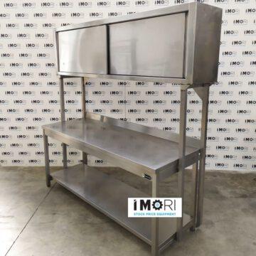 Tavolo Da Lavoro Con Pensile Inox Usato 190x70x210h