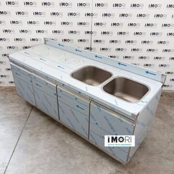 LAVELLO ARMADIATO NUOVO IN ACCAIO INOX 2 VASCHE 3 PORTE CON TRAMOGGIA 200X70 CM